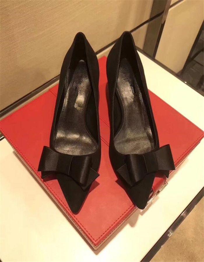 2018 nueva boca baja con lentejuelas punta estrecha zapatos de tacón de aguja de cuero de gamuza bowtie Satén zapatos europeos solos