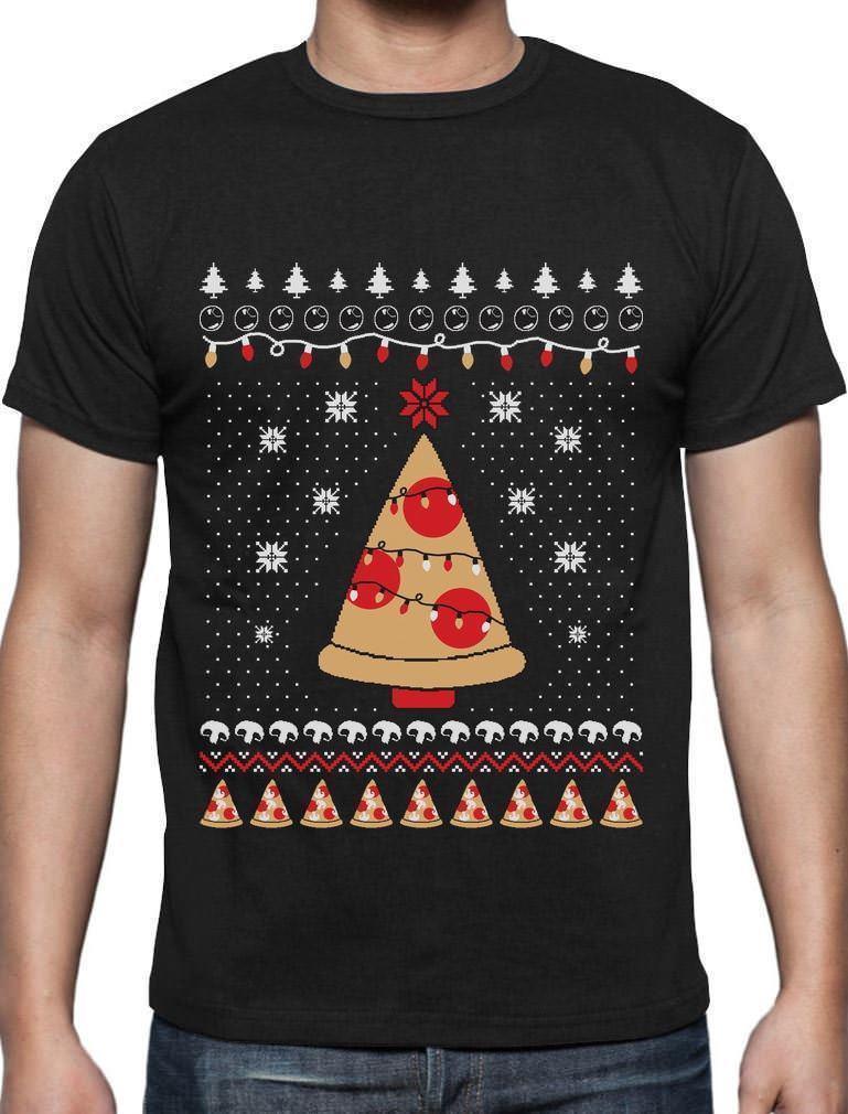 Pizza Ugly Christmas Sweater Funny Xmas Pizza Tree T Shirt Gift Idea ...
