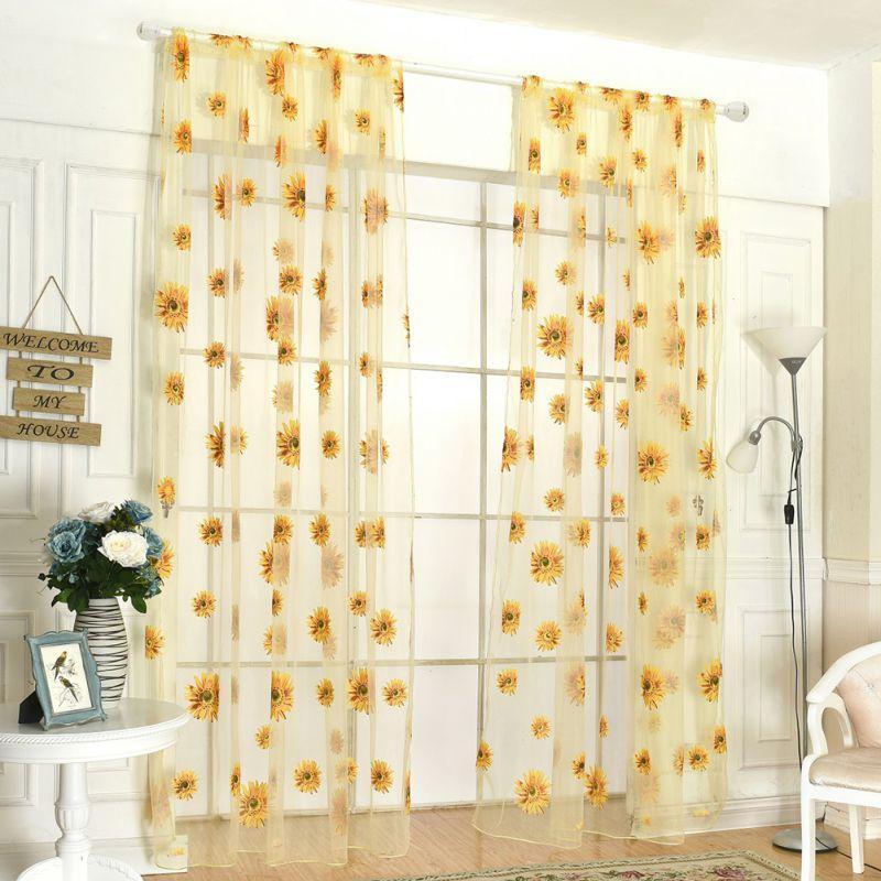 Großhandel 200 Cm X 95 Cm Mode Sonnenblumen Gedruckt Sheer Fenster ...