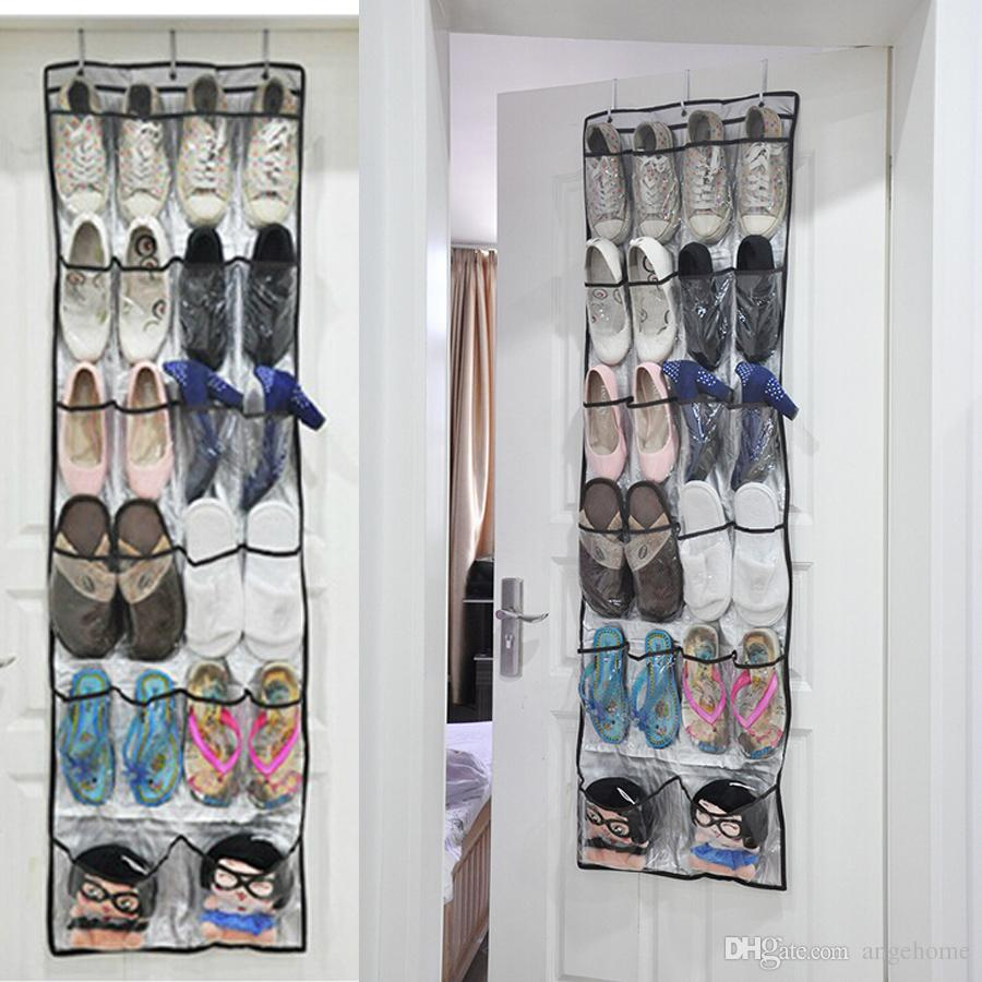 2018 24 Pockets Shoe Hanger Home Over The Door Hanging Organizer