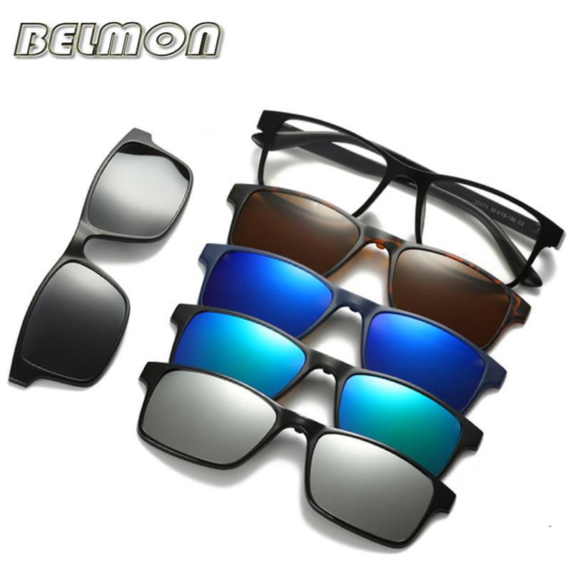 5c5ed2fce4 Fashion Optical Spectacle Frame Men Women With 5 Clip On Sunglasses ...