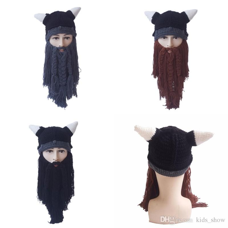 Knit Beard Cap For Male Creative Birthday Men Halloween Beard Hat Funny  Viking Horn Hats Holiday Party Supplies Decoration Diy Party Hats Diy Party  Hats For ... 89f464fc27b