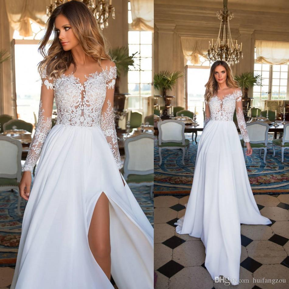 df0995cd7547b Discount 2018 Milla Nova Sexy Wedding Dress Long Sleeve Lace Applique Side  Split Bridal Gowns Floor Length Country Wedding Dresses Robe De Mariée  Cheap ...