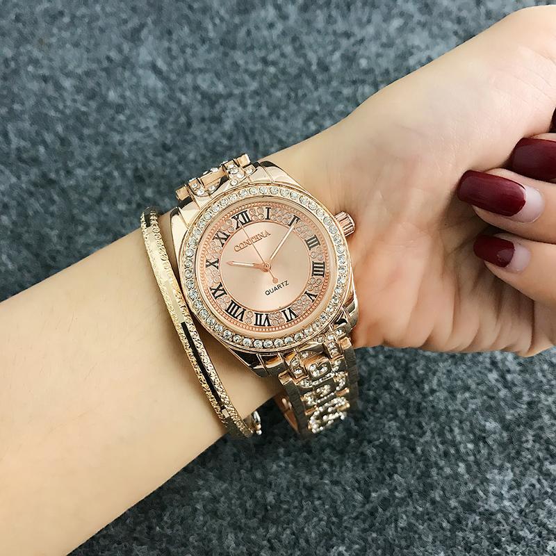 2ce7f0f97b36 Compre CONTENA Números Romanos De Moda Reloj De Mujer Relojes De Diamantes Mujer  Relojes Oro Rosa Reloj De Señora Reloj Relogio Reloj MujerY1883009 A  13.06  ...