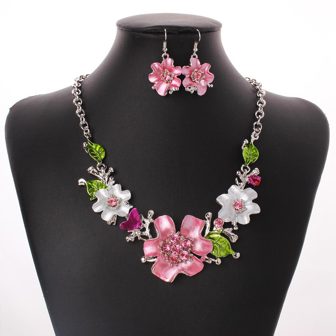 5eedcf39a4606 Bohemia Fashion Women Costume Jewelry sets Pink Crystal Enamel Flower  Pendant Necklace Earrings French Romantic Party Jewelry