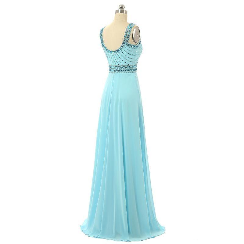 2019 A-Line Sexy Blue Chiffon Cocktailkleider Abendkleider Design Diamant Kragen Brautjungfernkleider Material Physikalische Bilder HY1477