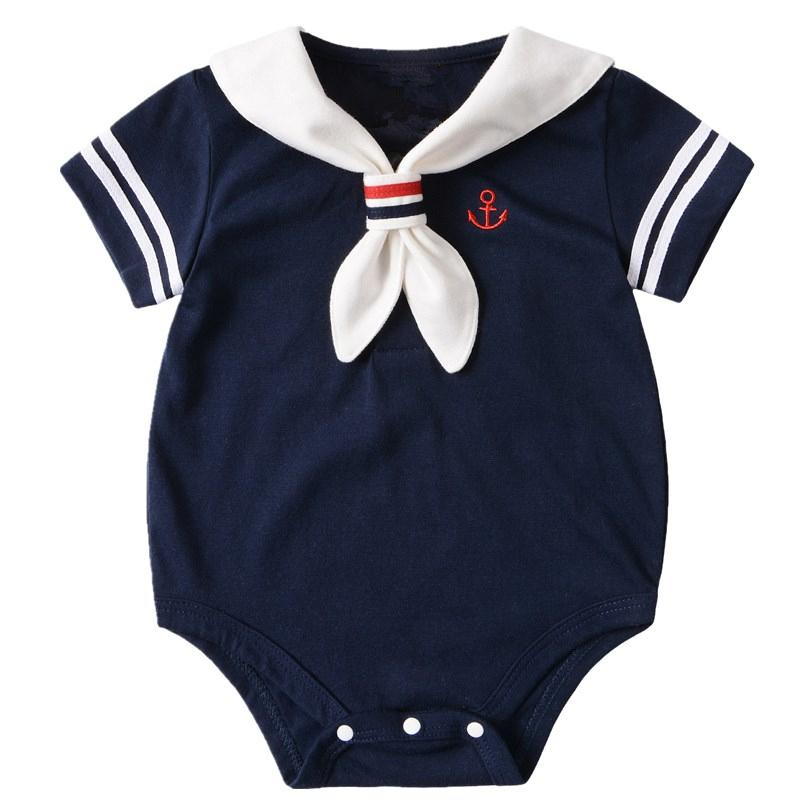 8671efd53 2019 Navy Baby Boy Rompers Summer Short Sleeve Sailor Baby Girls Boys  Jumpsuit Clothing Cotton Infant Costume Newborn Baby Clothes From  Kidsclotheswholesale ...