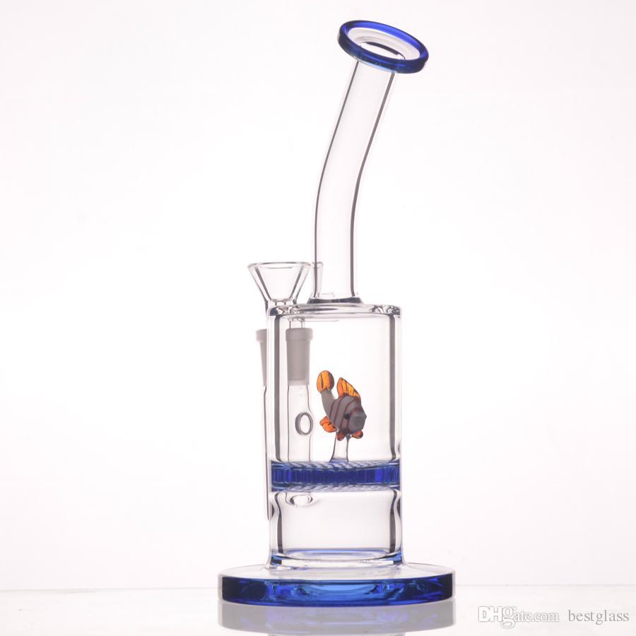 8.5 pollici Pettine di miele animale Perc Bong Tubi di vetro acqua Il disco di colore blu viene fornito con pesce comune da 14,5 mm // cigno