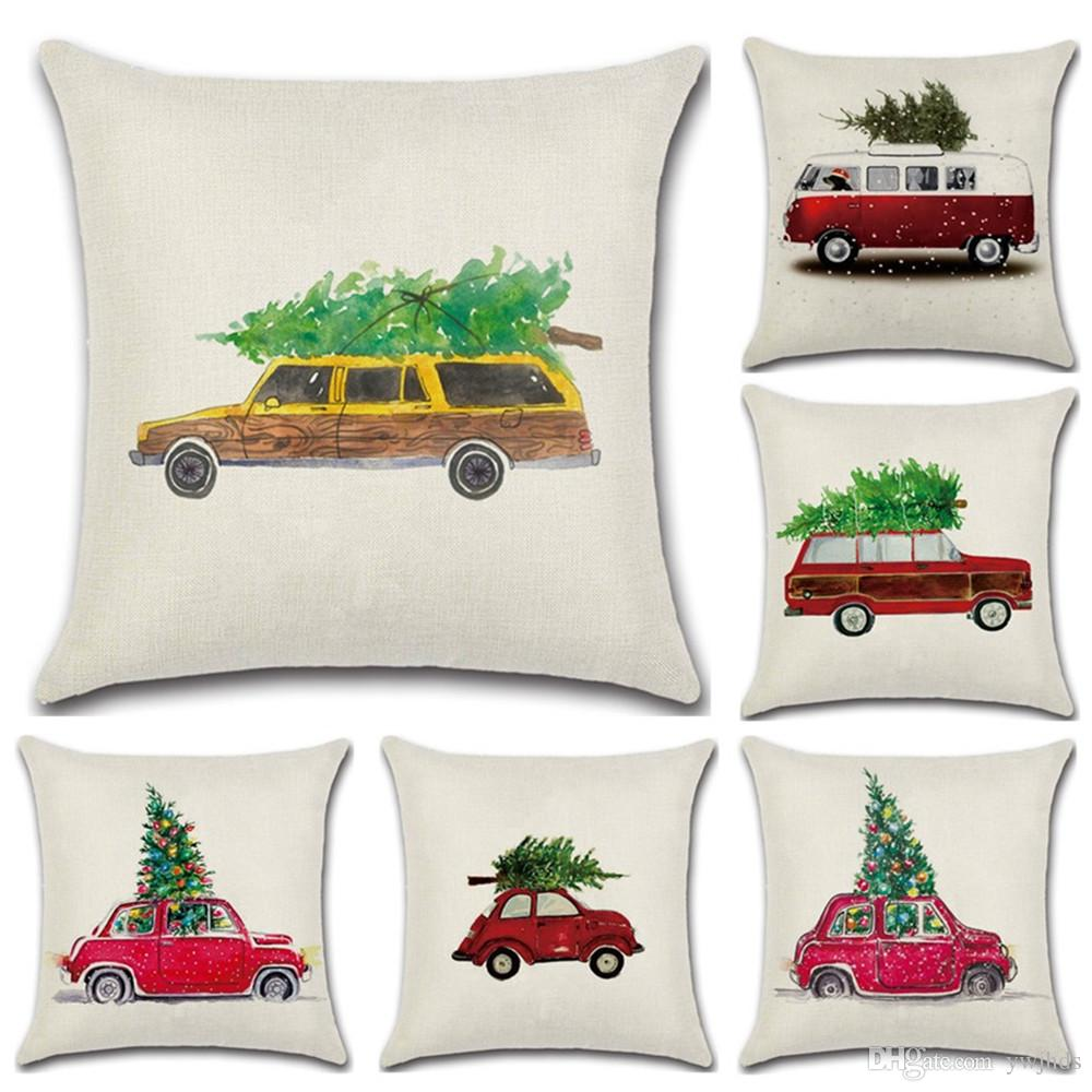Una nuova linea di Natale cartoon auto albero di lino federa Home Decor Divano Throw Pillow Cover arredamento di lusso per la casa