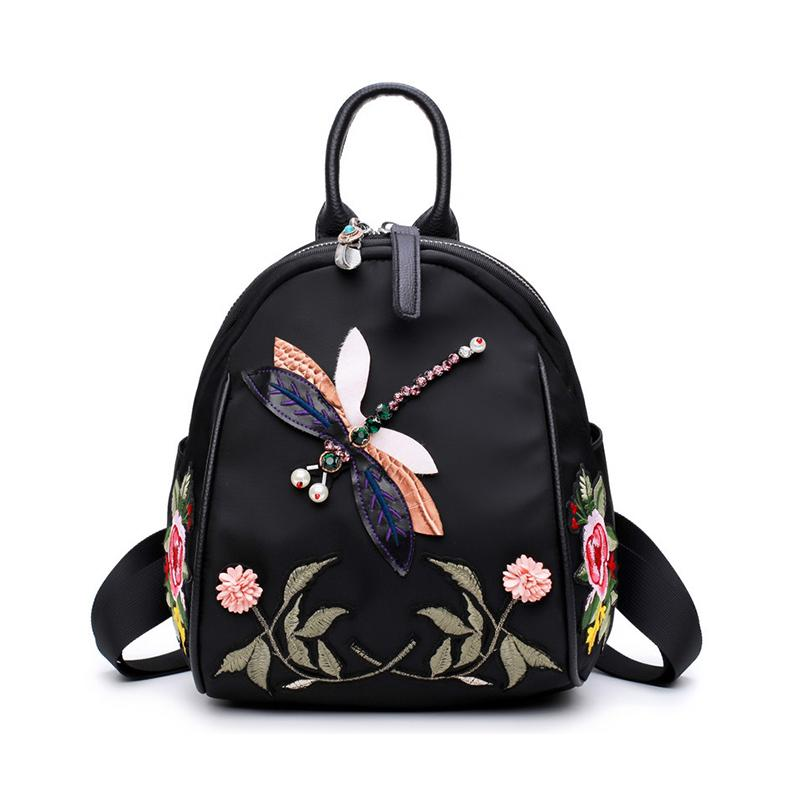 Handmade Embroidery New Fashion Women Backpack For Teenage Girls High  Quality Desinger Nylon Shoulder Bag Black Elegant Female Backpacks  Swissgear Backpack ... 7f5d34e43b80f