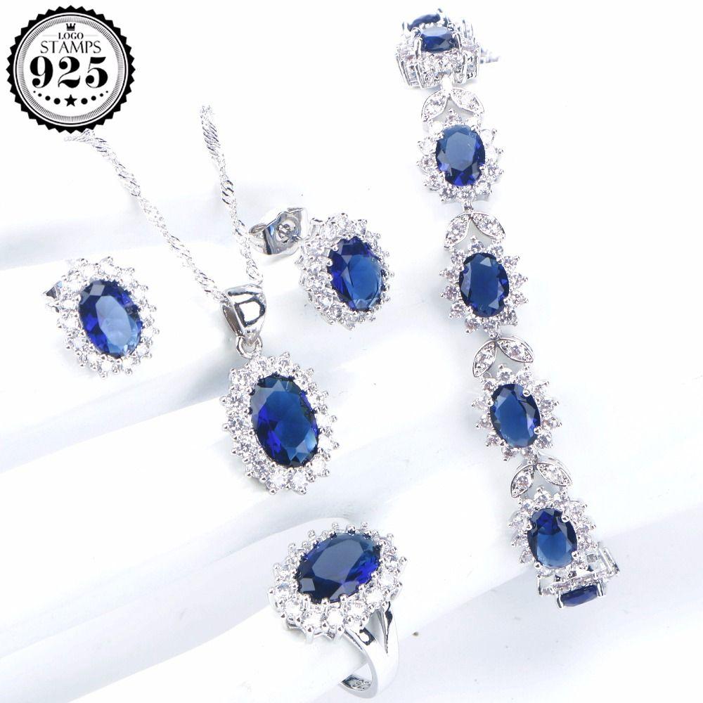 Blau Zirkonia Weiß Cz 925 Sterling Silber Schmuck Sets Für Frauen Ohrringe Anhänger Halskette Ringe Freier Geschenkkasten Hochzeits- & Verlobungs-schmuck Schmuck & Zubehör