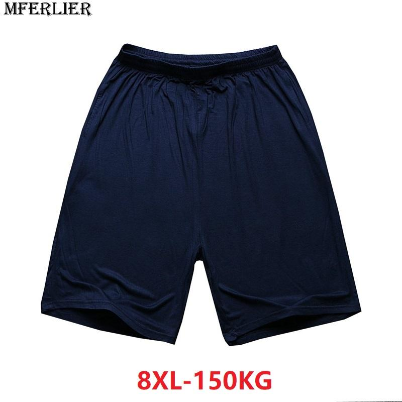 8XL Simple Bleu Élastique Taille Taille Taille MFERLIER Grande Plus Lâche En Acheter Plus 6XL La Unie Grande Short 7XL Été Pantalon Modal Couleur Hommes 4qBwPfa