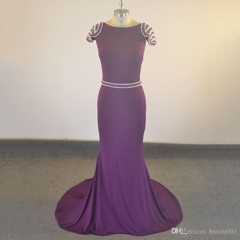 Gerçek Görüntü Yeni Mor Mermaid Gelinlik Modelleri Uzun Scoop Boyun Seksi Backless Cap Sleeve İnciler Balo Abiye Giyim Parti Giyim Elbise