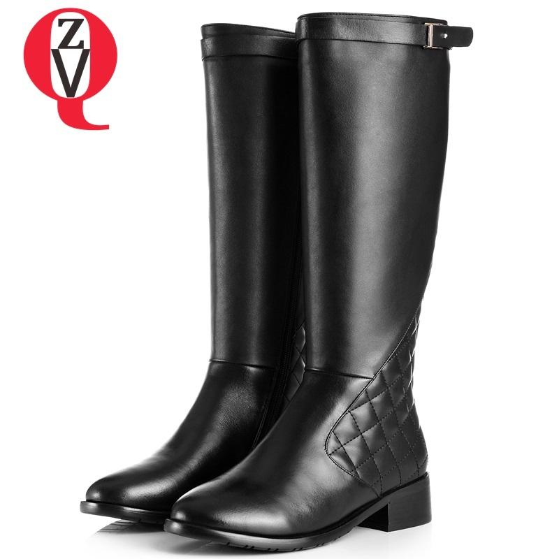 ZVQ 2018 winter warm newest casual round toe genuine leather women shoes low hoof heels zipper black large size knee high boots