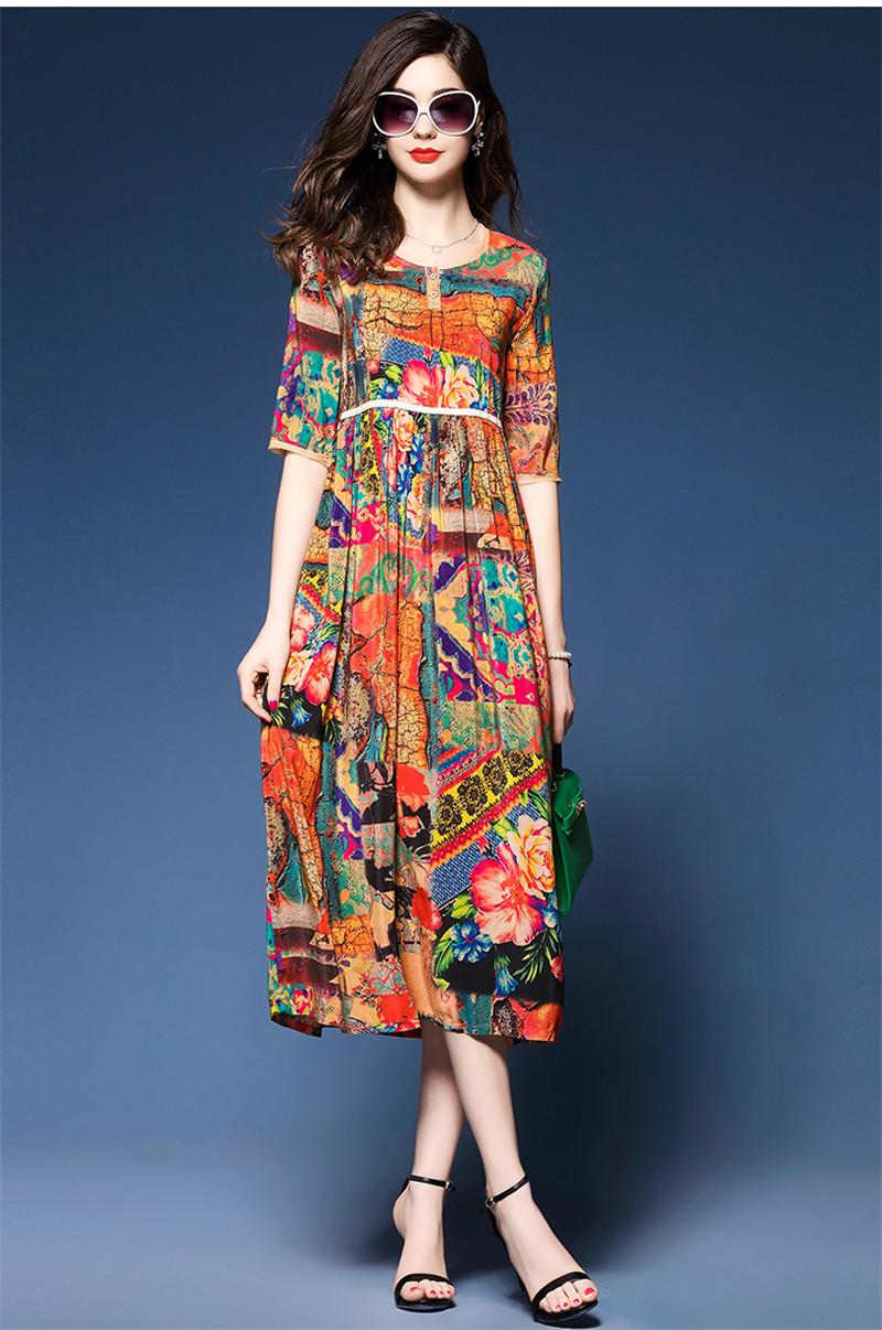 AYUNSUE New Fashion Floral Print 2018 Summer Dresses Casual Loose Vintage Silk Dress Women Ethnic Womens Clothing Vestido WXF656