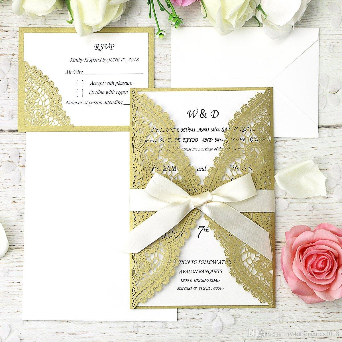 Dark Gold Laser Cut Wedding Invitation Cards Kits with Ribbons + ...