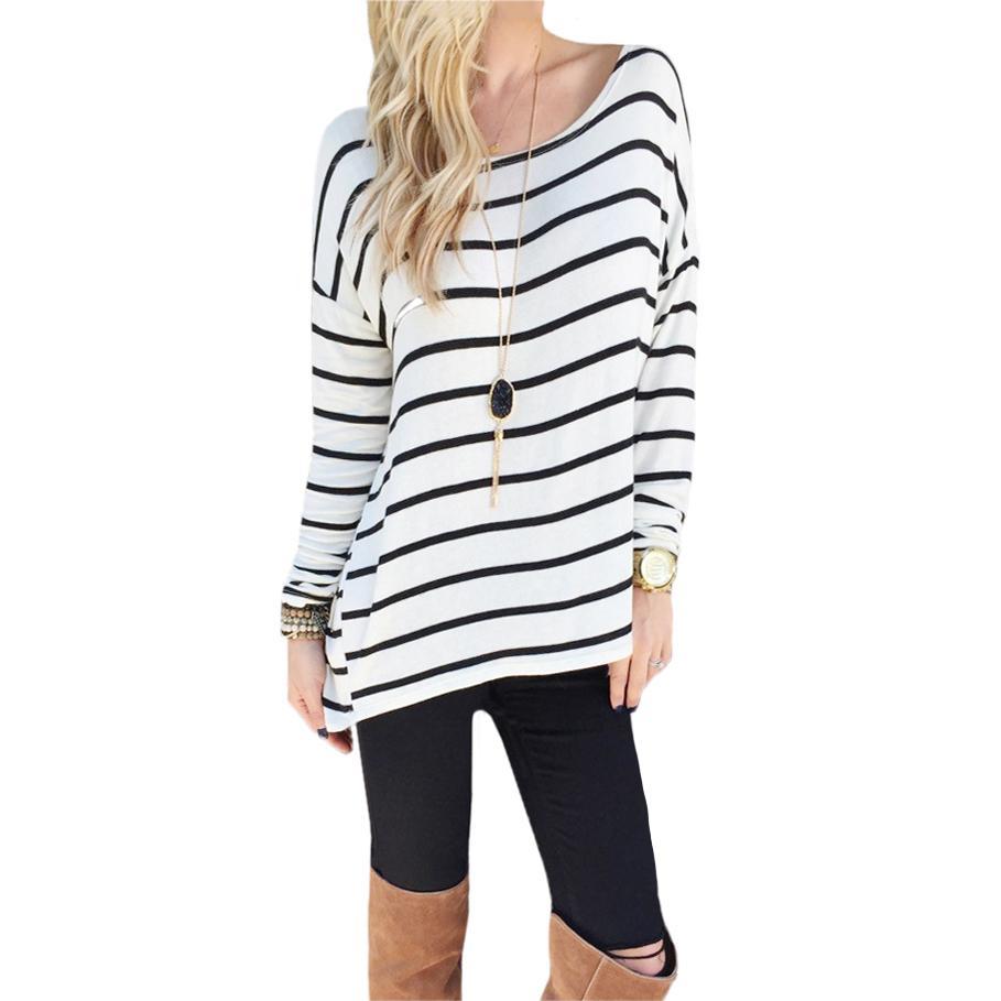 buy popular 11e4e 6a94e Gestreifte Shirts Frauen Casual T-shirt 2019 Neue Frühlingsfrauen Baumwolle  Lose T-shirt Große Lange Tops Tees Weibliche Tees