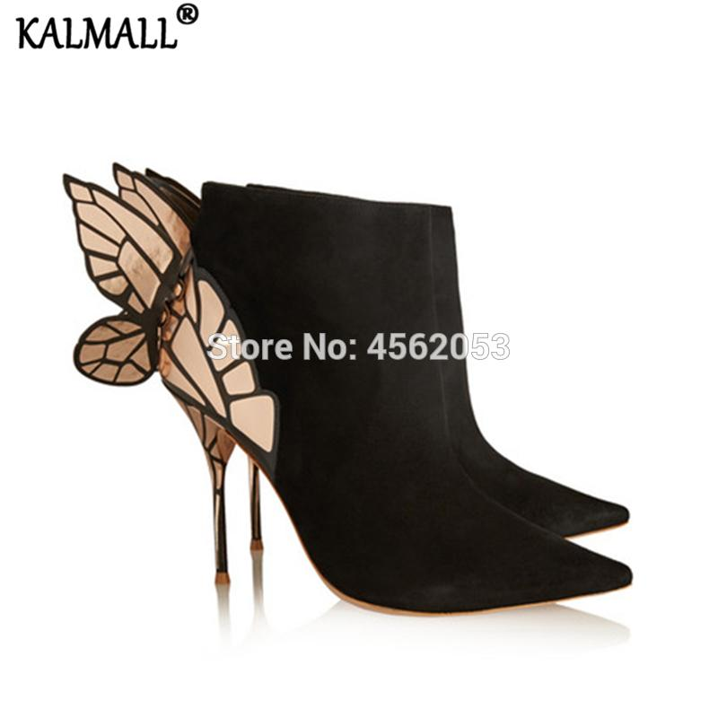 el más nuevo cda15 e42be KALMALL Ladies Shoes Autumn Sexy Pointed Toe High Stiletto Heel Botines  Mujer Suede Black Metallic Butterfly Wings Ankle Boots