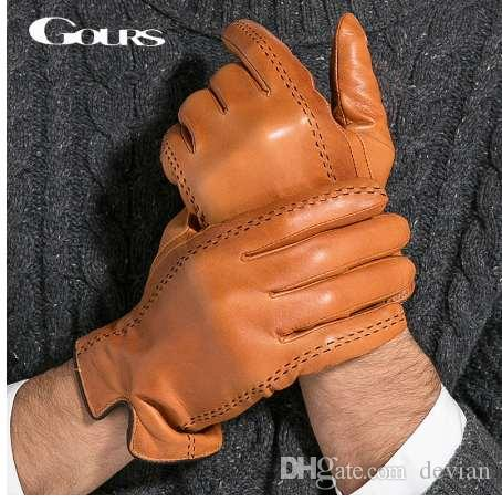 7b654cb98771c Gours Winter Men's Genuine Leather Gloves New Brand Touch Screen ...