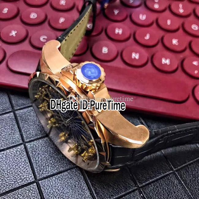 New Excalibur 45 RDDBEX0495 Roségold 18 Karat Gelbgold Ritter der Tafelrunde Blauer Emailzifferblatt Automatische Herrenuhr Schwarz Leder B42h8