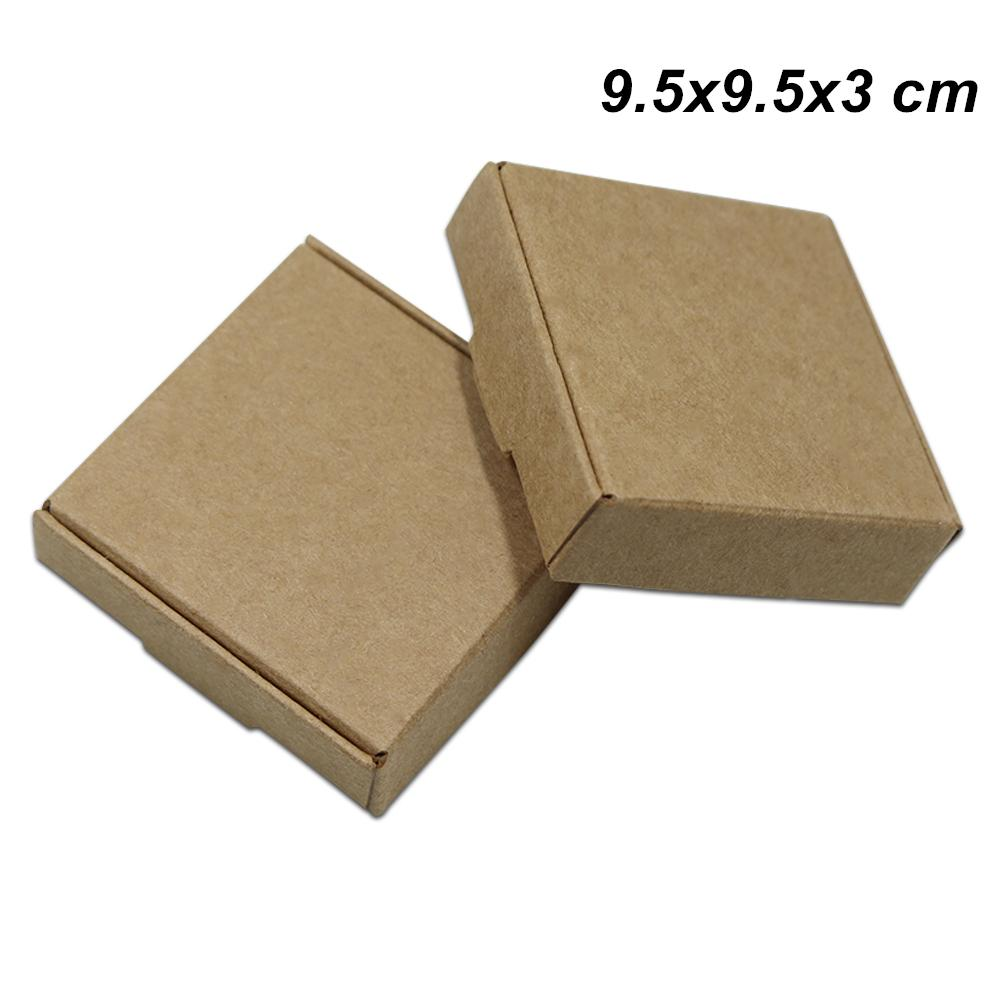 8a1c9ba6880 9.5x9.5x3 Cm Brown Kraft Paper Candy Cookie Storage Boxes Craft ...