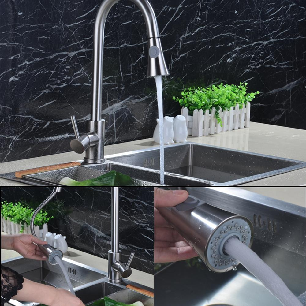 Brushed Brass Kitchen Faucet Silver Finish Solid Pull Out Kitchen ...