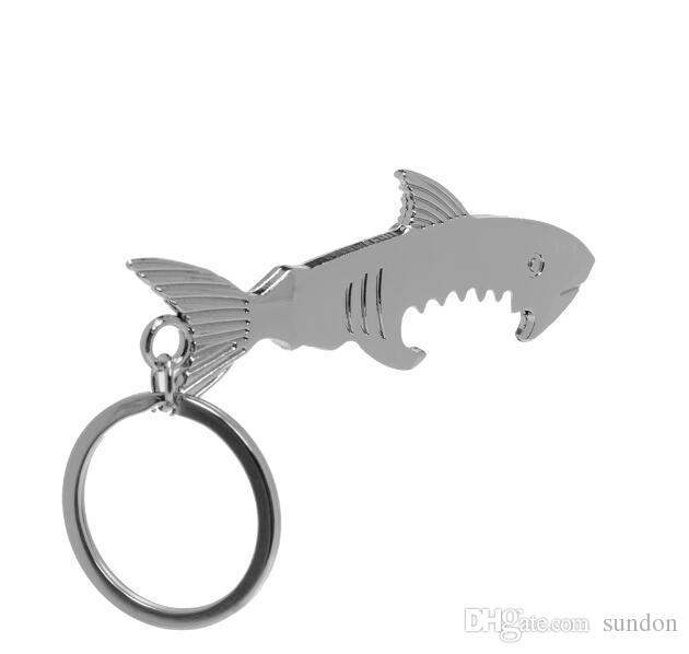 Shark Shaped Bottle Opener Chaveiro em forma de liga de zinco Cor Prata Anel Chave Beer Bottle Opener Presente Criativo Único