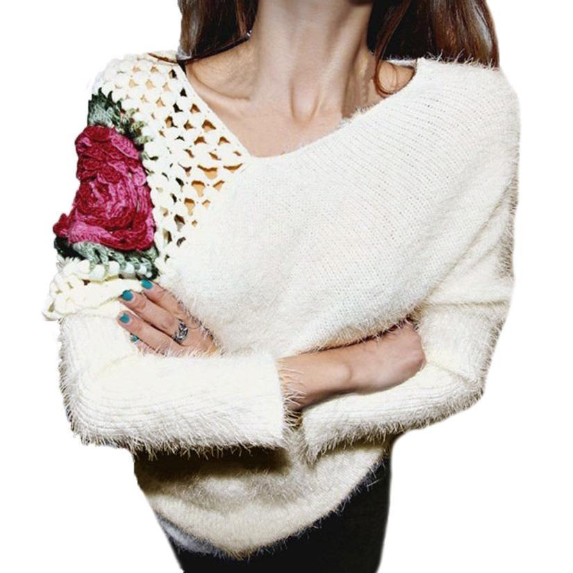 super popular a6ee7 567d7 Frauen Herbst Winter Pullover Rosen Haken Blumen Hohl Pullover Pullover  Tops Pullover für Frauen und Damen Pullover