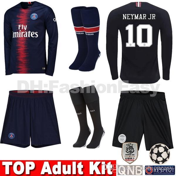 Compre Conjuntos De Camisa De Futebol Para Adultos Com Meias Maillots PSG  AJ Uniformes De Manga Longa Paris Saint MBAPPE 7 Germain 18 19 Maillot De  Pé ... 6e029d34c73fc