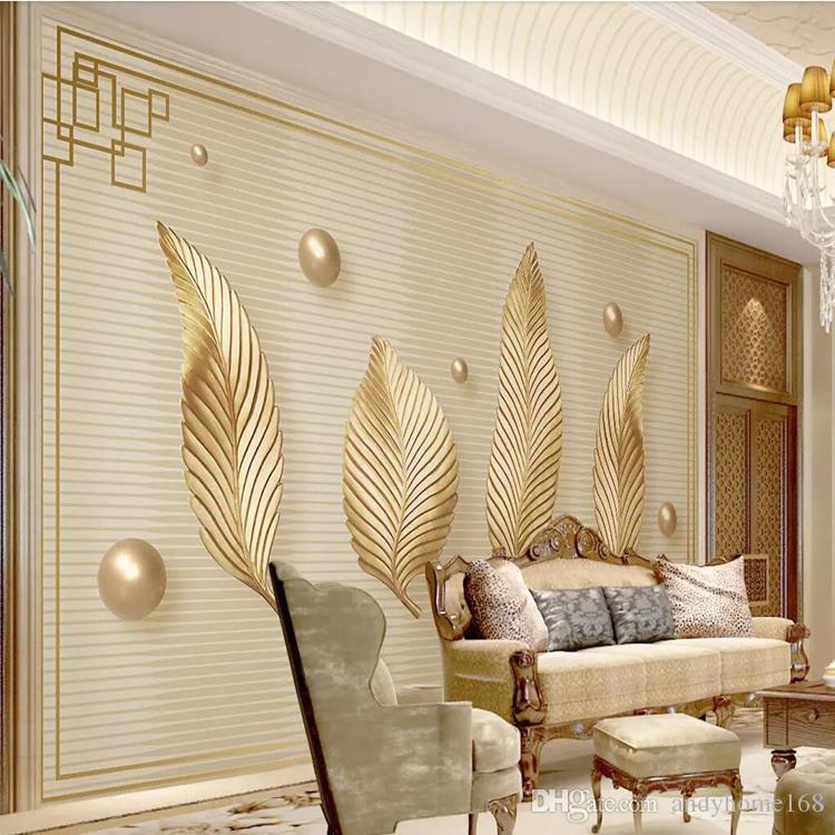 TV Background Wall Paper Modern Minimalist Living Room Bar Mural Cloth  Nordic Golden Leaves 3d Wallpaper Hand Painted Images Wallpapers Imaging  Wallpaper ...