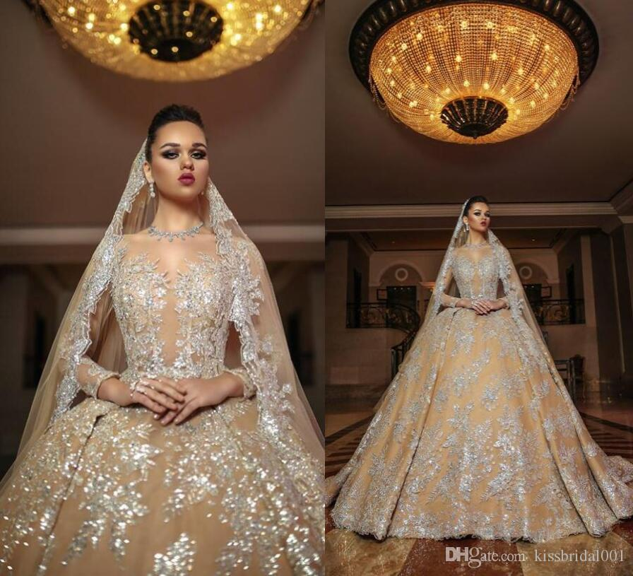 Luxury Bling Arabic 2018 Lace Wedding Dresses Long Sleeves African Gold Champagne Bridal Gowns Silver Lace Applique Ball Gown Dresses For We