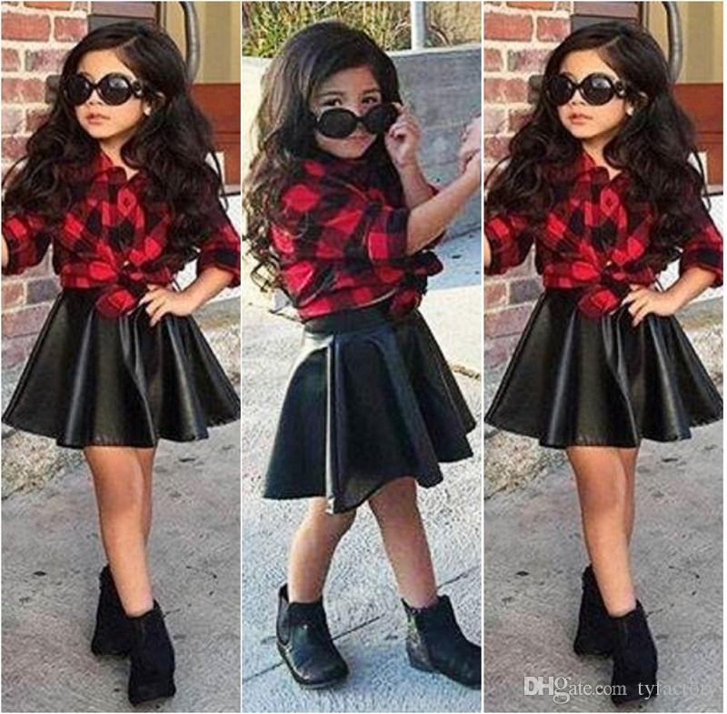 Spring 2018 Fashion Girls Kids Princess Plaid Tops Shirt Leather Skirt Summer Outfits Clothes Fashion Style Hot Selling Top Suits Two Pieces Dresses Baby