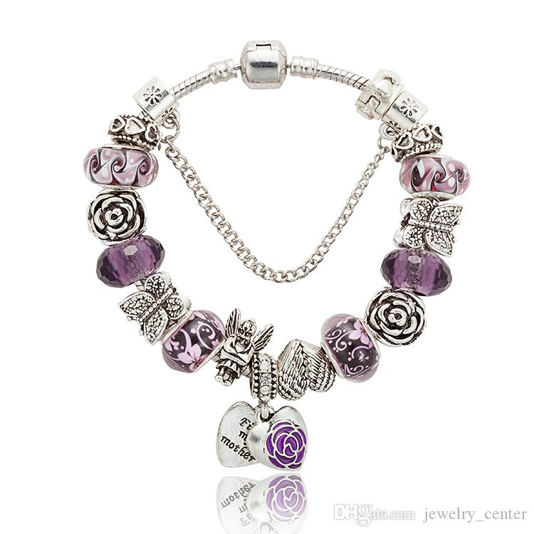 925 Sterling Silver plated butterfly & angel big hole Beads Charms DIY Bracelet for Pandora purple Charm Bracelets Gift Jewelry wholesale