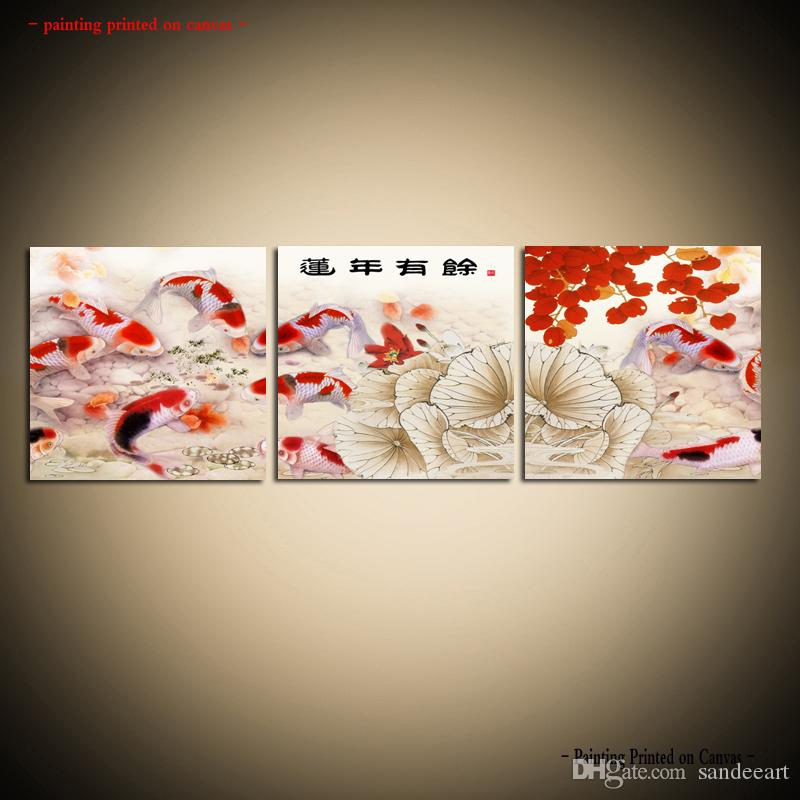 2019 Framed Unframed Large Modern Wall Art Canvas Giclee Prints Koi Fish Painting Asian Home Decor Set Dining Room From Sandeeart