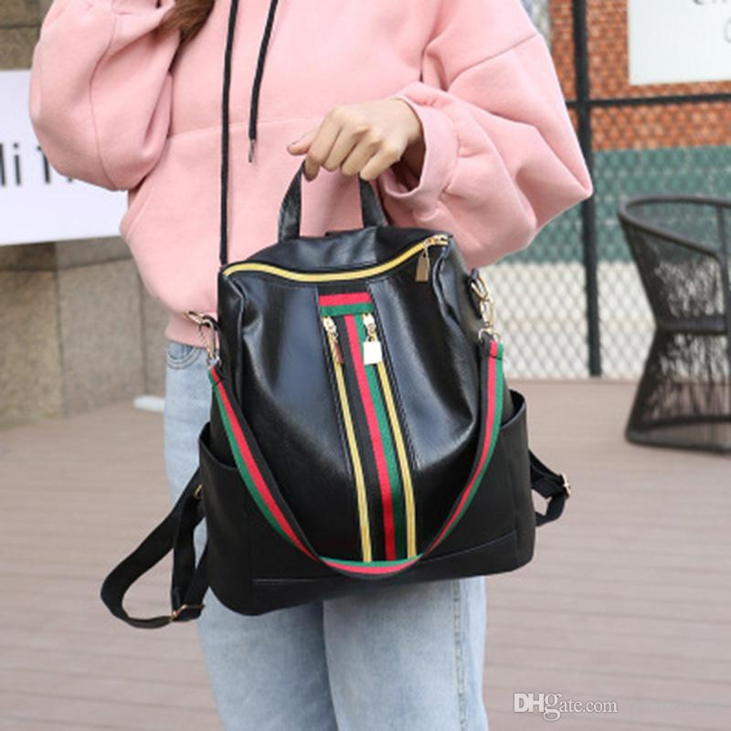 509e119e971 New Explosions Designer Handbags Ribbon Leather Backpack Korean Version Of  The Personality Tide Mommy Leisure Wild Mini Backpack Womens Backpacks Pink  ...