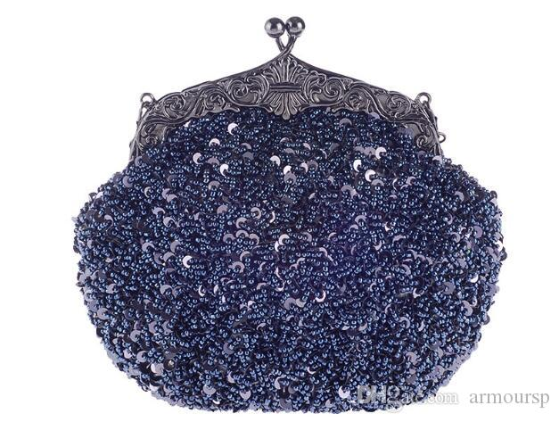 2018 new Women's Shoulder Bags Vintage Style Beaded And Sequined Evening Bag Wedding Party Handbag Clutch Purse +gift lipstick