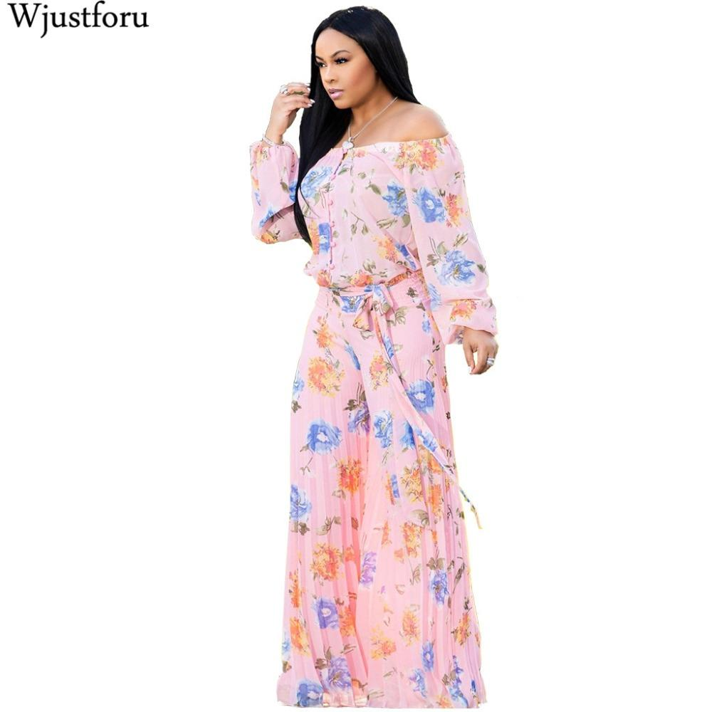 eafdd12822 2019 Tsuretobe Floral Printed Beach Plus Size Loose Jumpsuit Women Off  Shoulder Casual Sexy Jumpsuit Wide Leg Elegant Female From Macloth