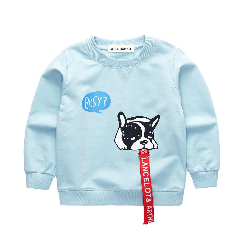 14f9b7bdbde7 AiLe Kaninchen Frühling neue Kinder langärmeligen Shirt Cartoon Welpen  Buchstaben beschäftigt Band dekorative Hund Baumwolle Baby jungen Mädchen