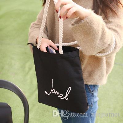2019 Mode Hohe Qualität Leinwand Einkaufstasche Frauen Handtaschen Mädchen Lässig Umhängetaschen Studenten Umweltschutz Einkaufstasche