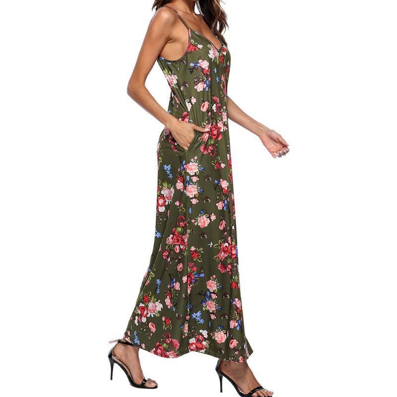 2763ed50b8e586 Großhandel Frauen Boho Floarl Kleid Strand Sommer Sommerkleid V Ausschnitt  Taschen Sexy Spaghetti Strap Gedruckt Lange Maxi Kleider Robe Plus Größe  GV306 ...