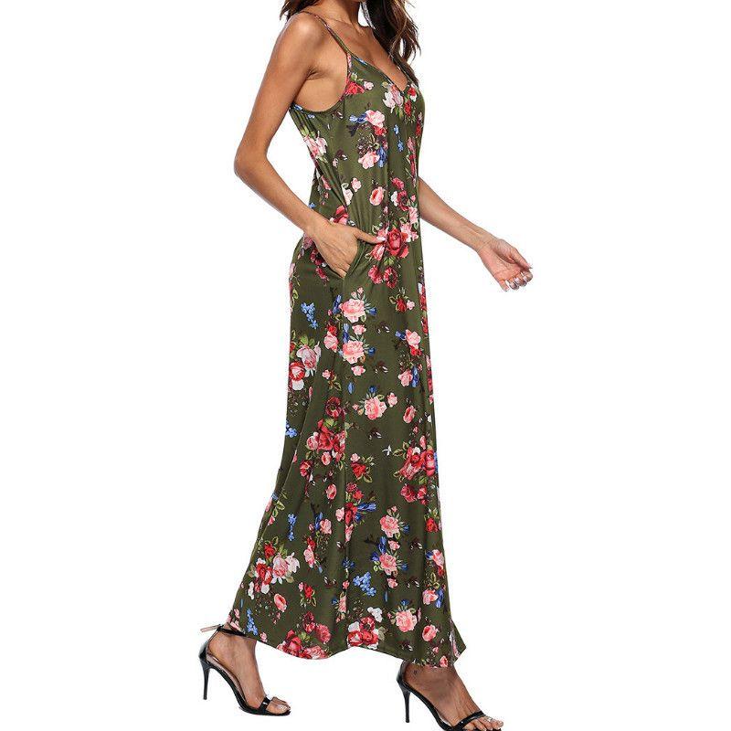 7c27cb2645f Women Boho Floarl Dress Beach Summer Sundress V Neck Pockets Sexy Spaghetti  Strap Printed Long Maxi Dresses Robe Plus Size GV306 Black Lace Summer Dress  ...
