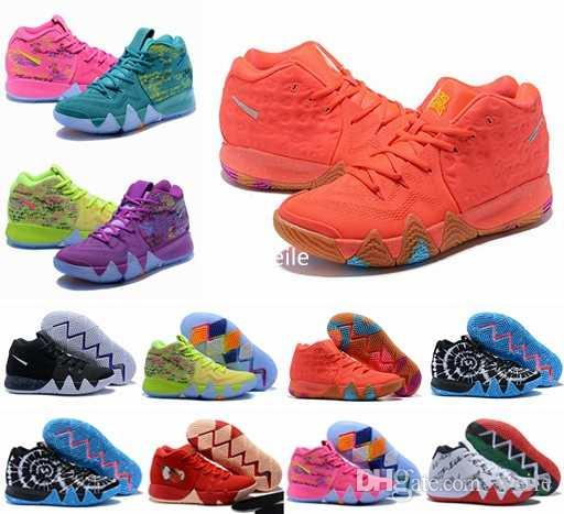 96ff71bf91e3b Acheter 2018 Kyrie Chaussures De Basket Ball Pour Femmes Enfants Irving Iv 4  Chanceux Charms Multicolore Noir Lune Fleur Rouge Sport Formation Sneakers  ...