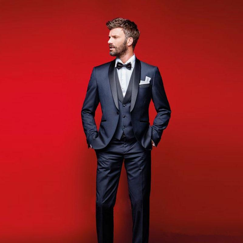 Classy Navy Blue Wedding Tuxedos Slim Fit Suits For Men Groomsmen Suit Three Pieces Cheap Prom Formal Suits Jacket +Pants+Vest+Bow Tie