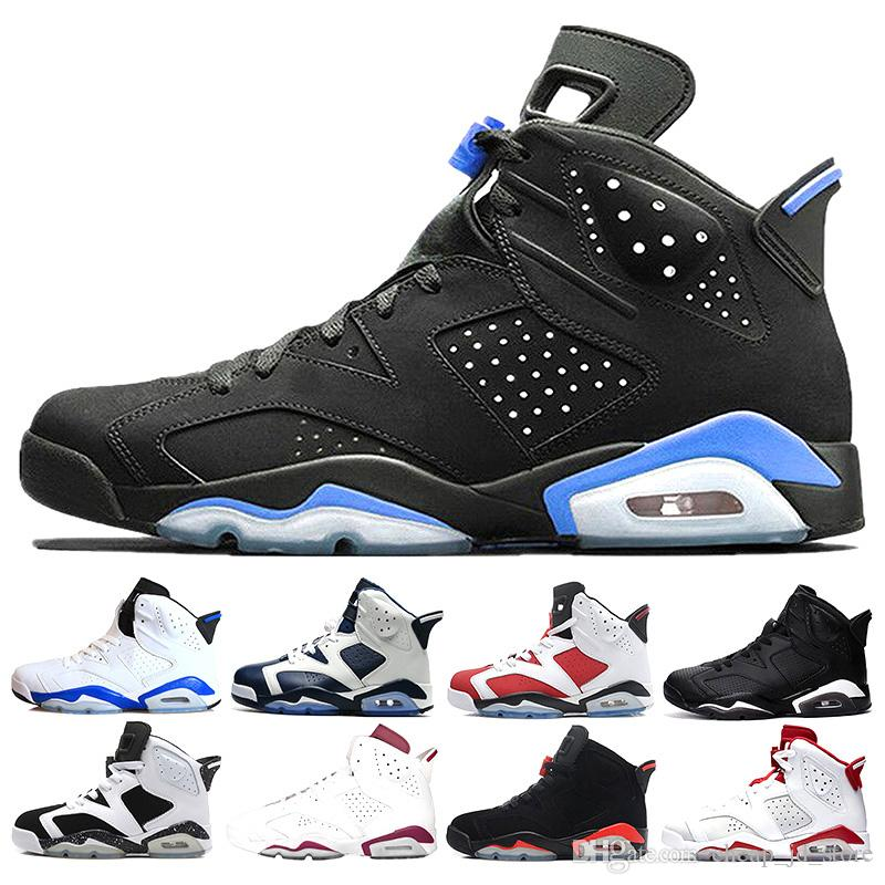 on sale adcf2 f5a71 2018 Men Basketball Shoes 6 6s UNC Alternate Hare Carmine White Infrared  Black Cat Sports Blue Maroon Angry Bull Chrome Sports Sneaker 7 13 East Bay  Shoes ...