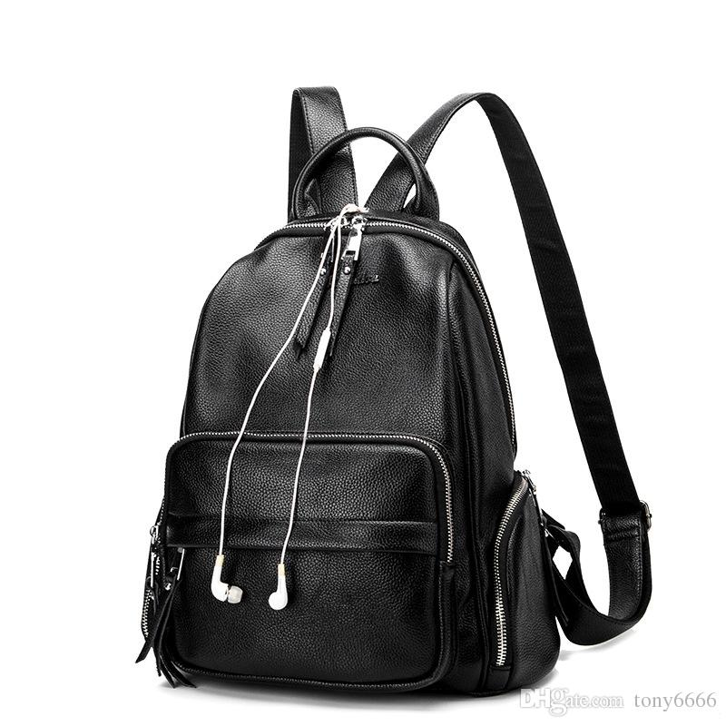 6a5cd1fe4090 Brand Style Leather School Backpack Bag For College Simple Design Women  Casual Daypacks Fashion Vintage School Bag Soft Genuine Leather Girl  Backpacks ...