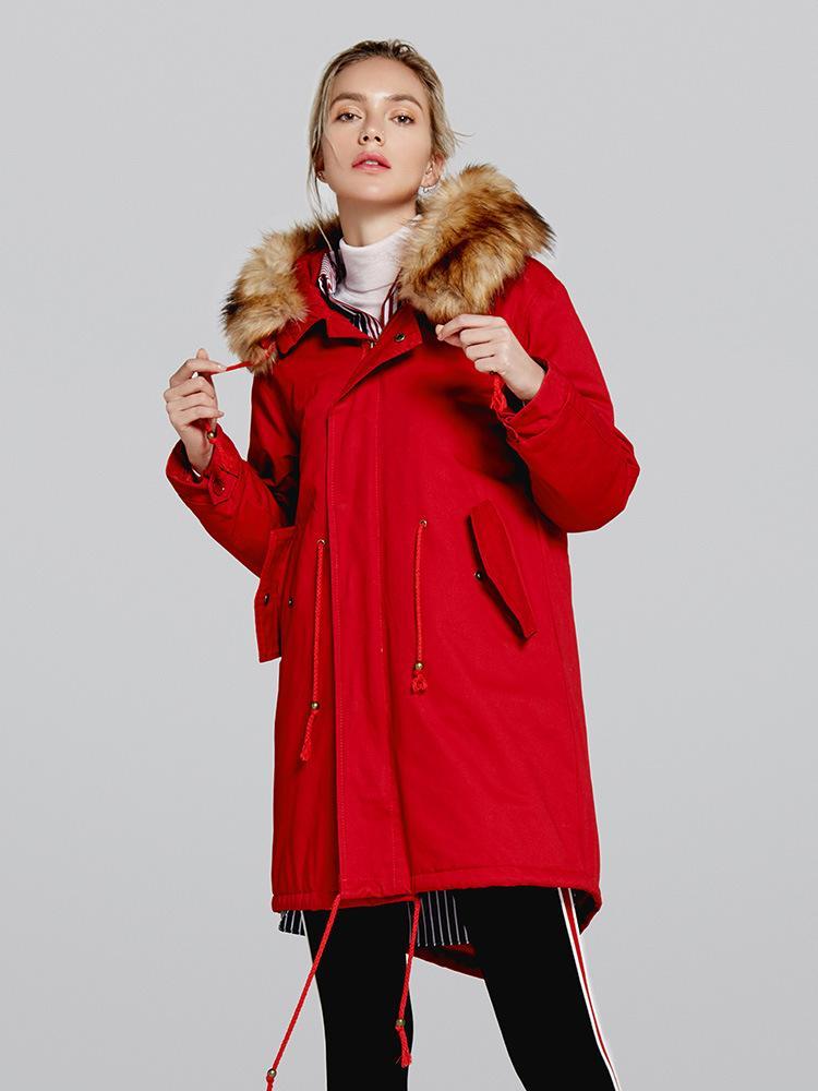 2018 Winter Fur Collar Hooded Parka Women Long Cotton Padded Jacket