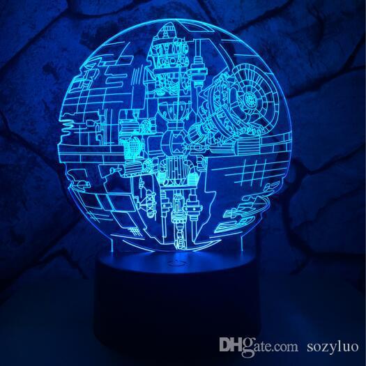 2018 HotMovie SW DS-1 데스 스타 3D LED 야간 조명 터치 USB 테이블 램프 7 색 실 장식 RGB LED 팬 크리스마스 신년 선물 드롭 배송