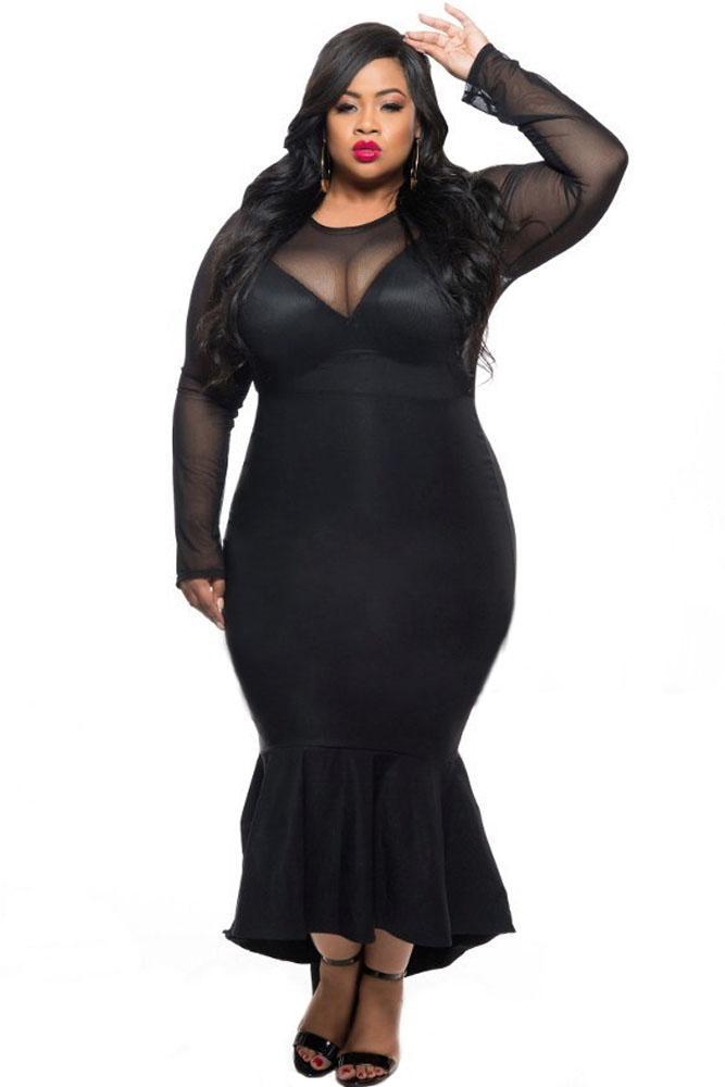 819f21c19 Acquista Nuovo Plus Size Donna Sexy Clubwear Dress Nero Sirena High Low  Maxi Donna Abiti Formali Autunno Xxl Party Manica Lunga 61086 A  30.65 Dal  ...