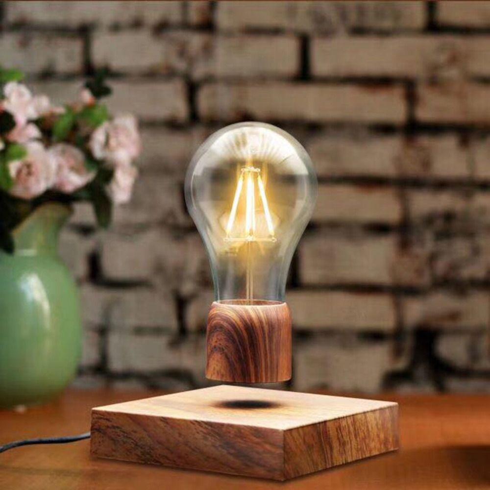 acheter 2018 nouveau magnétique lévitation ampoule bureau bois grain