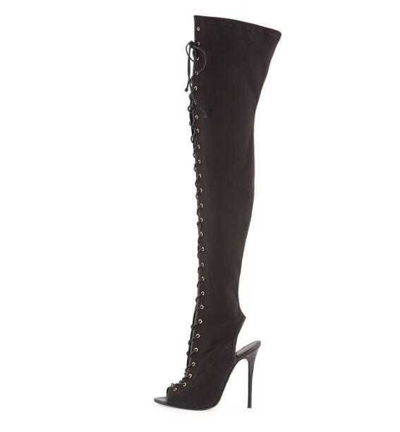 9c75302ec7589 Compre Botas Altas De Lienzo Con Cordones De Lona Negras Especiales Para  Mujer Botas Largas De Tacón Abierto Sobre La Rodilla De Dama Tacones Altos  Súper ...